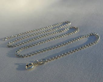 Chain round link Sterling Silver 925, 45.5 Cm length
