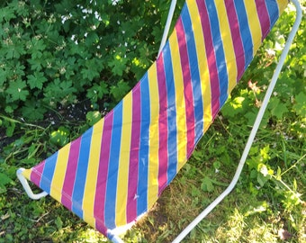 Vintage Retro 70s Hammock Chair in Bag Striped Canvas Camping Festivals Picnic