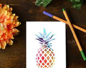 Rainbow Watercolor Pineapple Card or 5x7 printable    INSTANT DOWNLOAD