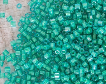 8/0 Toho Light Jonquil Lined Aqua 8/0 Hexagon Seed Beads, 8/0 Aqua Hexagon Toho Seed Bead, 15 Grams, 5378