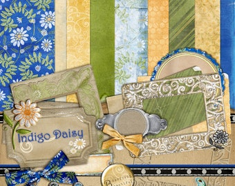 Indigo Daisy Digital Scrapbook Kit - Navy & Yellow Flower, Daisies Patterned Paper, Graphic Design Download, 75% Off Sale, Clearance