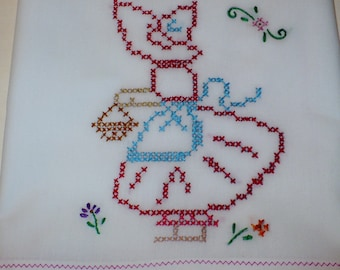 Cross Stitched Old Fashion Girl Shopping Dish Towel