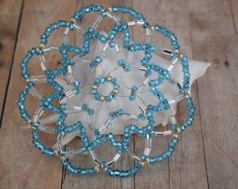 Blue Beaded Kippah - Bat Mitzvah Kippah Kippot For Women - Keepsake Kippah - Jewish Young Lady Kippot.