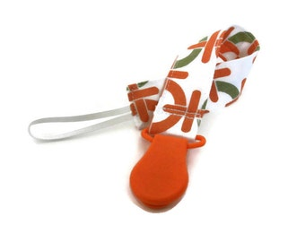 Fabric Pacifier Clip Geometric Fabric with Orange Plastic Clip Universal Paci/Teether Holder Clip Colorful Orange Binky Clip Accessory