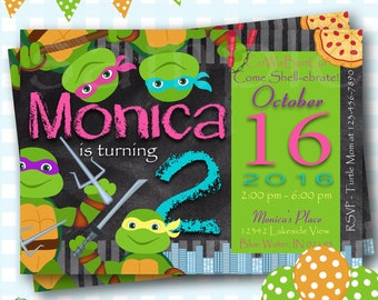 Girls Ninja Turtle Invitation, Ninja Turtles Party, TMNT Invitation, Teenage Mutant Ninja Turtle Invitations, TMNT Birthday Invitation - S90