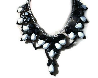 MAGPIE  hand painted rhinestone super statement necklace