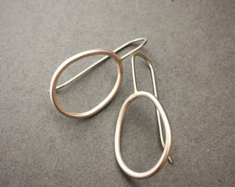Modern Organic Oval Sterling Silver Drop Earrings