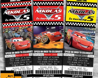 Ticket Cars Birthday Invitations, Cars Invitation, Lightening McQueen Invitation, Lightening McQueen Birthday Invitation, Cars Invites R-47