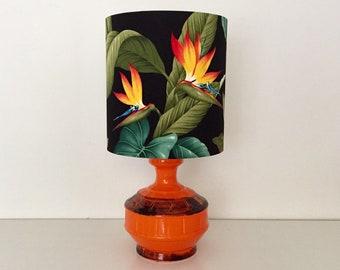 Mid Century Flame Orange Bird of Paradise Ceramic Table Lamp