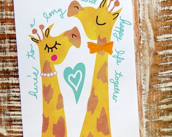 A long a happy life together - 5 x 7 giraffe wedding card