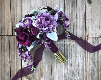 Plum and Iris Bouquet, Purple Bouquet, Succulent Bouquet, Wedding Bouquet, Bridal Bouquet
