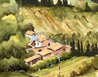 Watercolor original Tuscany Italy wine country landscape