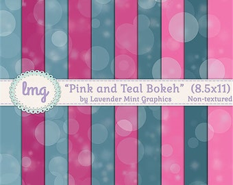Pink Bokeh Digital Paper Backgrounds, Watercolor Papers, Pink and Teal, Bokeh Papers, Junk Journal, 8.5x11, Instant Download, Commercial Use
