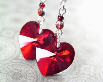 Red Heart Earrings Swarovski Red Crystal Heart Earrings Sterling Silver Earrings Red Heart Dangle Earrings