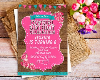Printable Cowgirl Birthday Invitation, Pink Cowgirl Birthday Invitation, Cowgirl Party Invite, Rustic pink Cowgirl Invite, Wild West Party