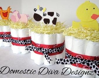 Diaper Cakes - Set of 4 Farm Animal Mini Diaper Cake Centerpieces