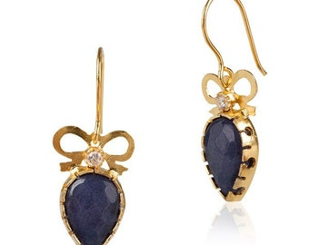Bow Earrings with Sapphire drops, dangling earrings, navy blue earrings, Blue Sapphire color, dark blue drops, blue drop earrings