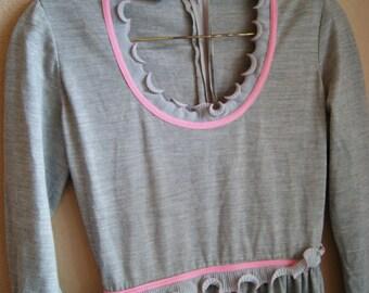 Vtg Gray and Pink Ruffled Misty Morning Dress