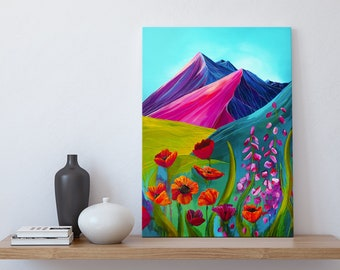 Canvas wall art Bright Mountain Alaska scenery Wallart artwork colorful wall display mountain acrylic painting