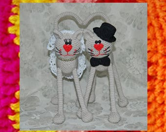 Amigurumi pattern for Wedding cats. Amigurumi  bride and groom. Crochet pattern. Cat toy in love. Valentines day souvenir.  Just married toy