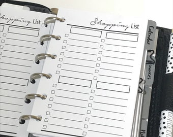 Shopping Lists Planner Inserts | Pocket Size Planner