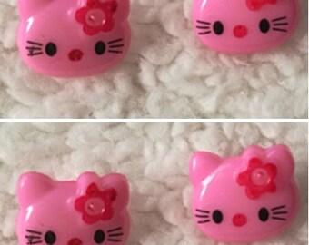 Wholesale Lot : 100pcs  Pink resin Kitty cat   Button   12x14mm , girl diy faor