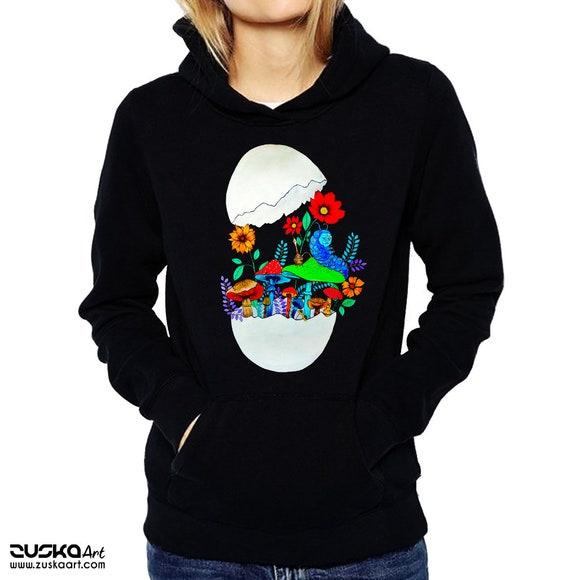 Smoking caterpillar | Unisex Hoodie Sweatshirt | Absolem | Alice in wonderland | Magic mushrooms | Psychedelic art | ZuskaArt