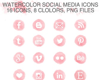 Watercolor Social Media Icons Set of 16 x 8 colors pink peach grey lavender yellow blue green pine - 3 sizes - PNG - Instant Download