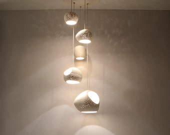 CLAY LIGHT CLUSTER:  Five Pendant Chandelier ceiling lighting - On Sale 15% off