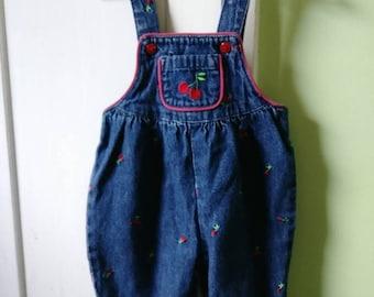 0-3 0-6 Months Vintage Cherry Print Denim Overalls 90s 00s Girls Rockabilly Cute Pocket Sleeveless Pleated Gymboree