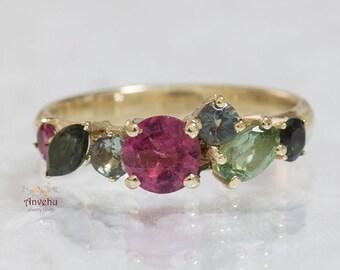 Cluster ring Tourmalines Cluster ring Engagement ring 14k Gold ring Alternative ring Yellow gold ring Multi-stone ring Promis ring