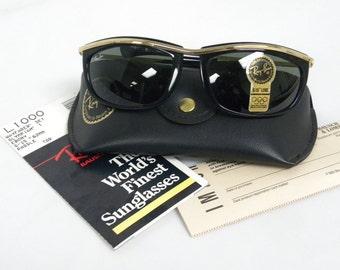 New Vintage B&L Ray Ban Olympian I Black L1000 Predator Sunglasses USA