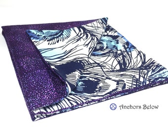 Purple Pocket Square, Peacock with Purple Spots, Blue Feathers, Double Sided Pocket Square, Reversible Pocket Square, Suit and tie, Wedding