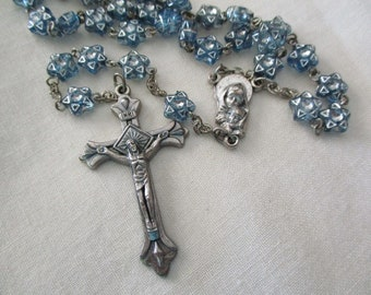 vintage rosary - blue, star beads, made in Italy