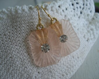 1920's Art Deco Vintage Iced Pink Etched Lalique Inspired Czech Crystal Frosted Camphor Glass Gold Earrings Blush