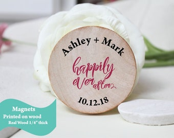 Custom Magnets | wooden Wedding Favor | Wood Magnets Custom Save the date | happyly ever after magnets favors
