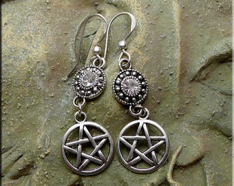 Silver Pentacle Earrings with Crystals, Bling Witch Earrings with Pentagram and Crystal, Dangling Pentagram Charm Jewelry - SE-P0546-FEW