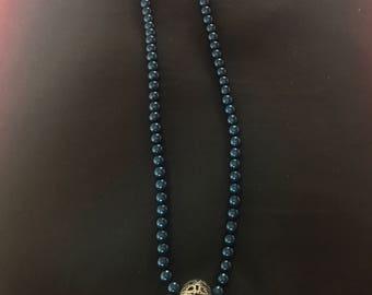 Blue Beaded 'Art Deco' Necklace