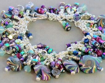 SALE! Jade green, blue purple boho sterling silver cha cha bracelet, hippie metallic vitrail beaded dangle, boho magenta polymer swirls