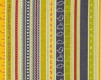 Yellow gray stripes Babysaurus patchwork fabric