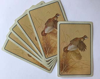 Six Vintage Playing Cards, Quail, Bird, Hunting, Nature, Journal Supply, Scrapbooking