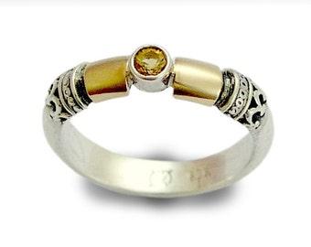 Yellow citrine ring, November birthstone ring, Silver gold ring, gemstone ring, engagement ring, filigree ring - Hopeless romantic R0151