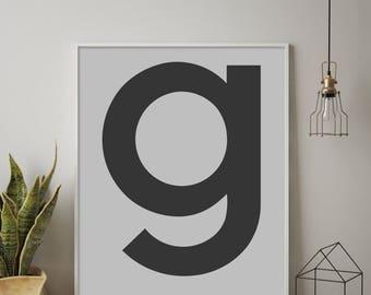 Scandinavian G, Letter G, G Print, G Poster, Letters Art, Letters