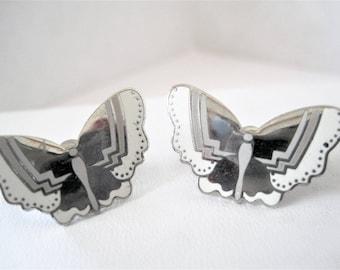 Laurel Burch Earrings, Papillon Vintage Pierced, Butterfly Earrings, RARE Laurel Burch -