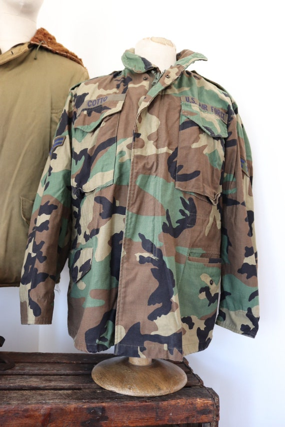 "Vintage 1990s 90s USAF US Air Force camo camouflage M-65 field jacket 47"" chest miltary"