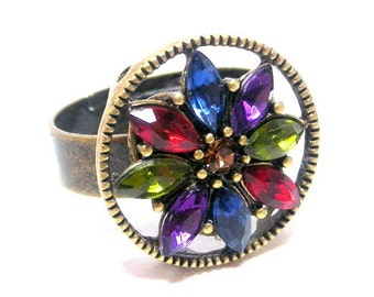 Multicolor adjustable ring, vintage style marquis ring, sparkly rainbow colors