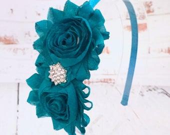 Teal Flower Headband, Teal Shabby Chic Headband Flower Girl Headband, Wedding Headband, Hair Accessories