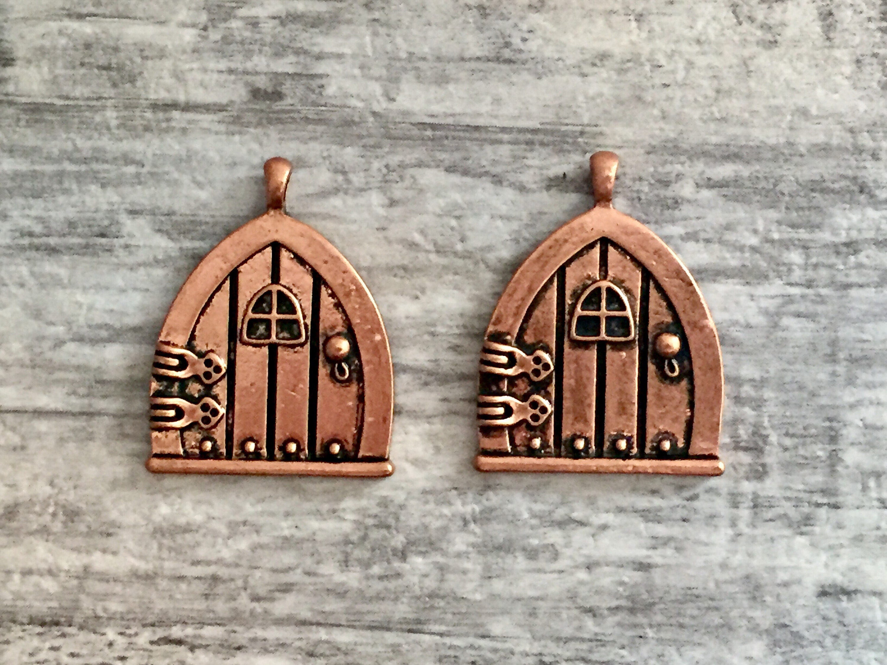 Sold by OneStopSteamShoppe & 2pcs Copper Fairy Door Charm Pendants Gnome Door Forest House Elf ...
