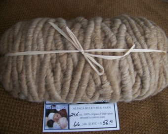 66 Yards - 24.5 oz All Natural - No Dyes - 100% Alpaca Bulky Rug Yarn - Fawn