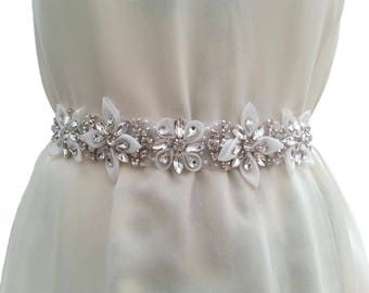 Luxury Rhinestone Bridal Sash Belt Satin Ribbon Organza Flowers Wedding Dress  white